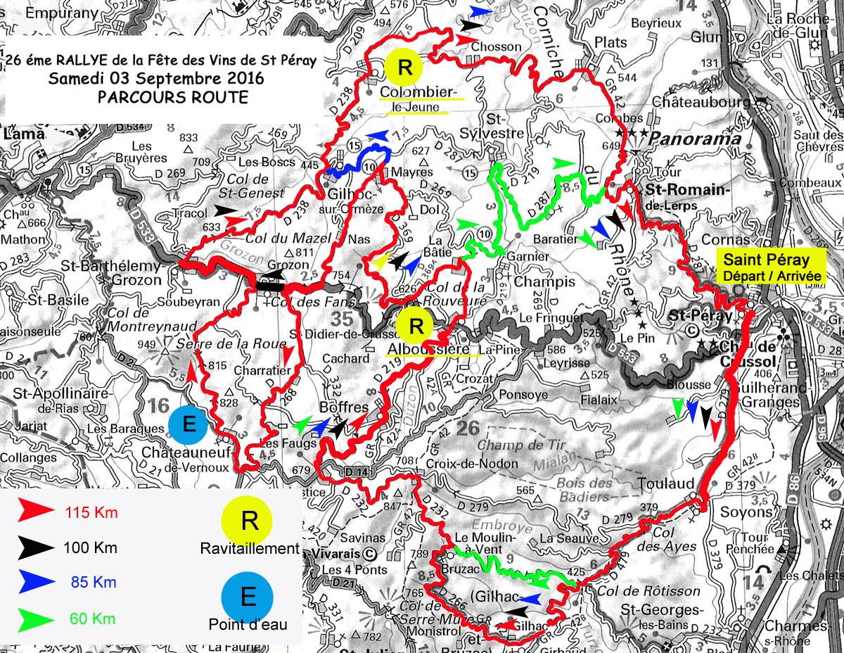 parcours route du 26ème Rallye cyclo club st Péray
